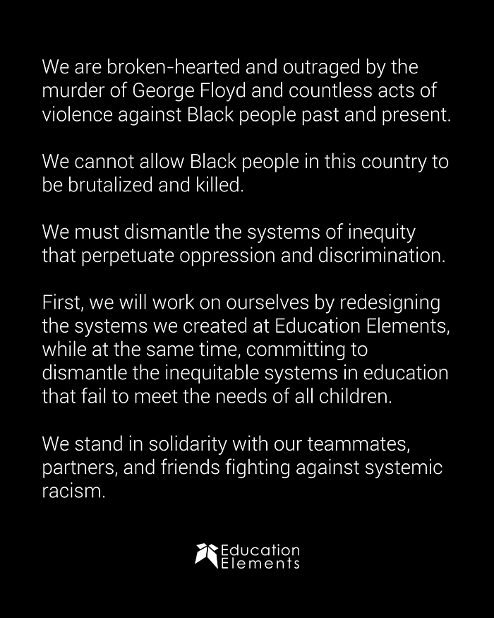Ed Elements Statement Black Lives Matter June 2020 Blog