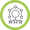 Leadership web icon in green ring