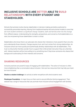 sample page of the white paper - inclusion section, with pink footer and green leaves