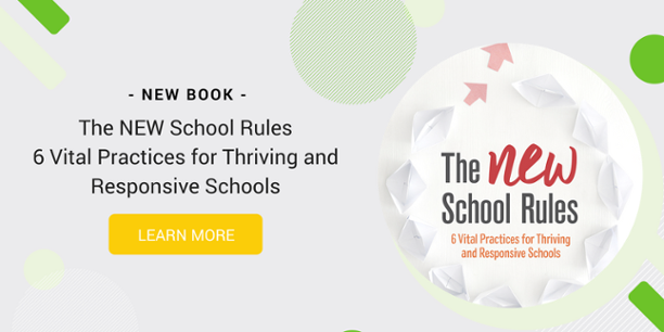 "A graphic inviting the reader to learn more about a book called ""The NEW School Rules"""