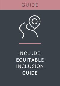 A graphic which reads: Guide. Include: Equitable Inclusion Guide
