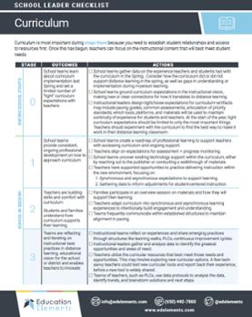 Curriculum checklist preview