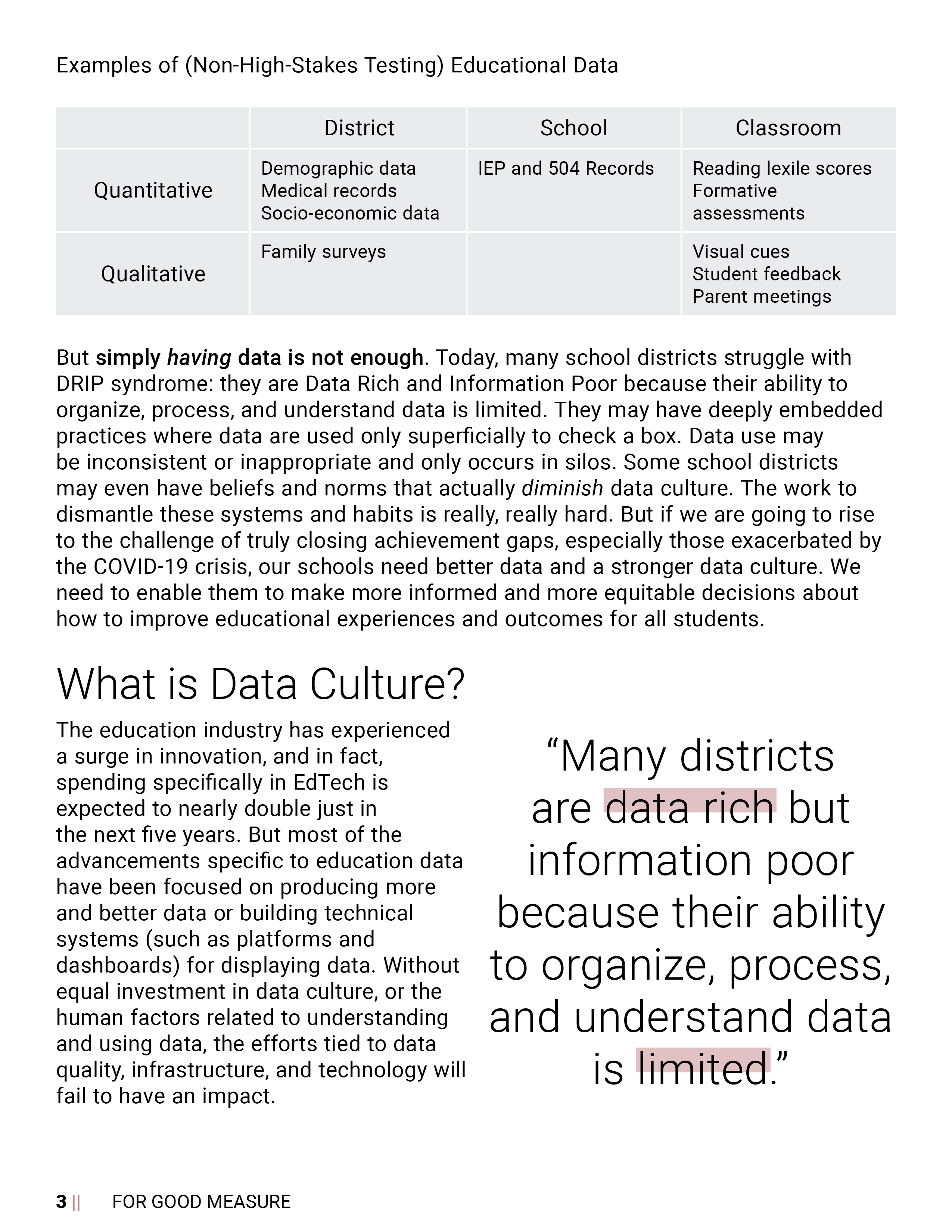 For Good Measure - Data Culture Guide page 3