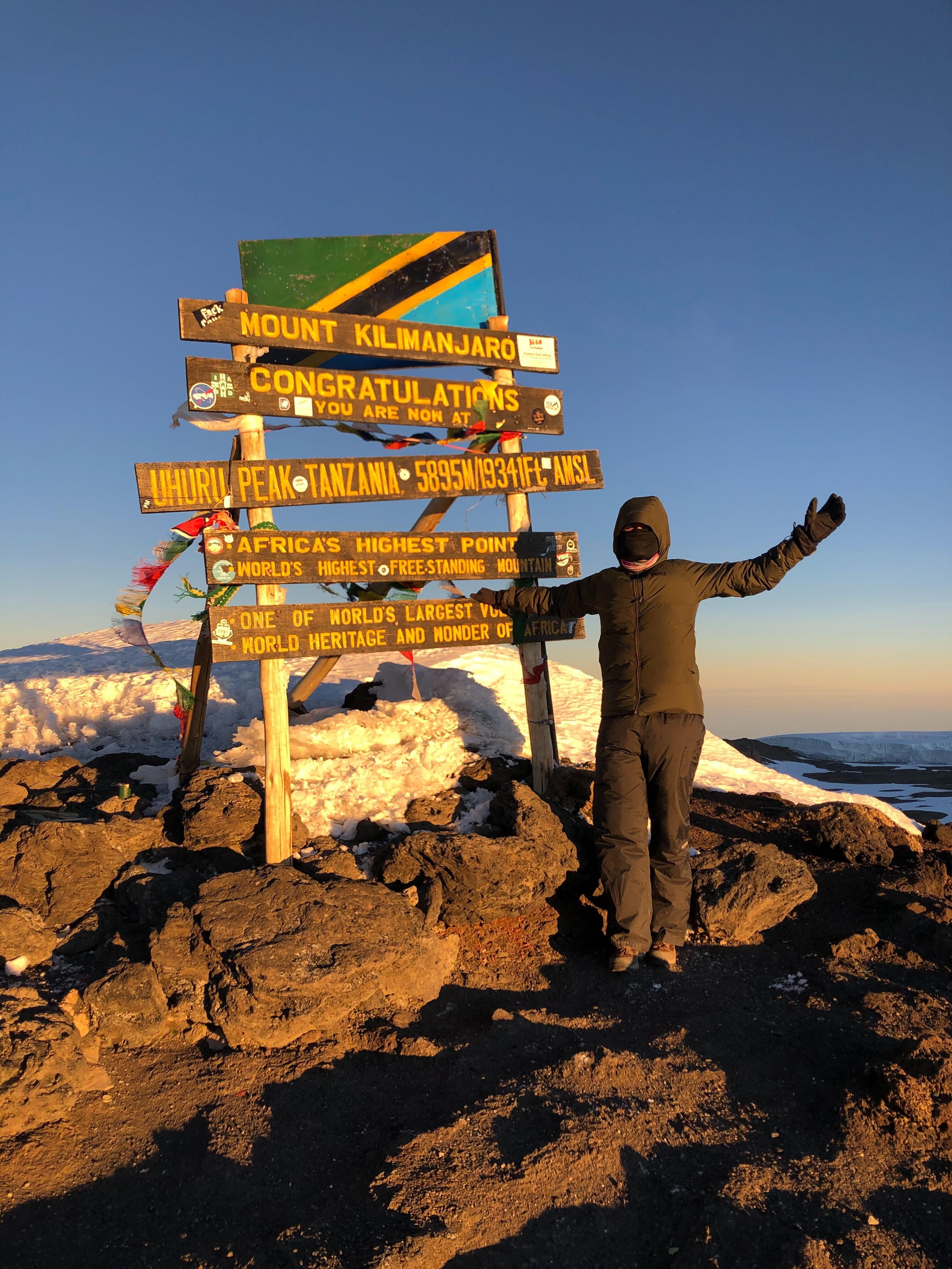 Baltazar Benavides at the top of Mount Kilimanjaro!
